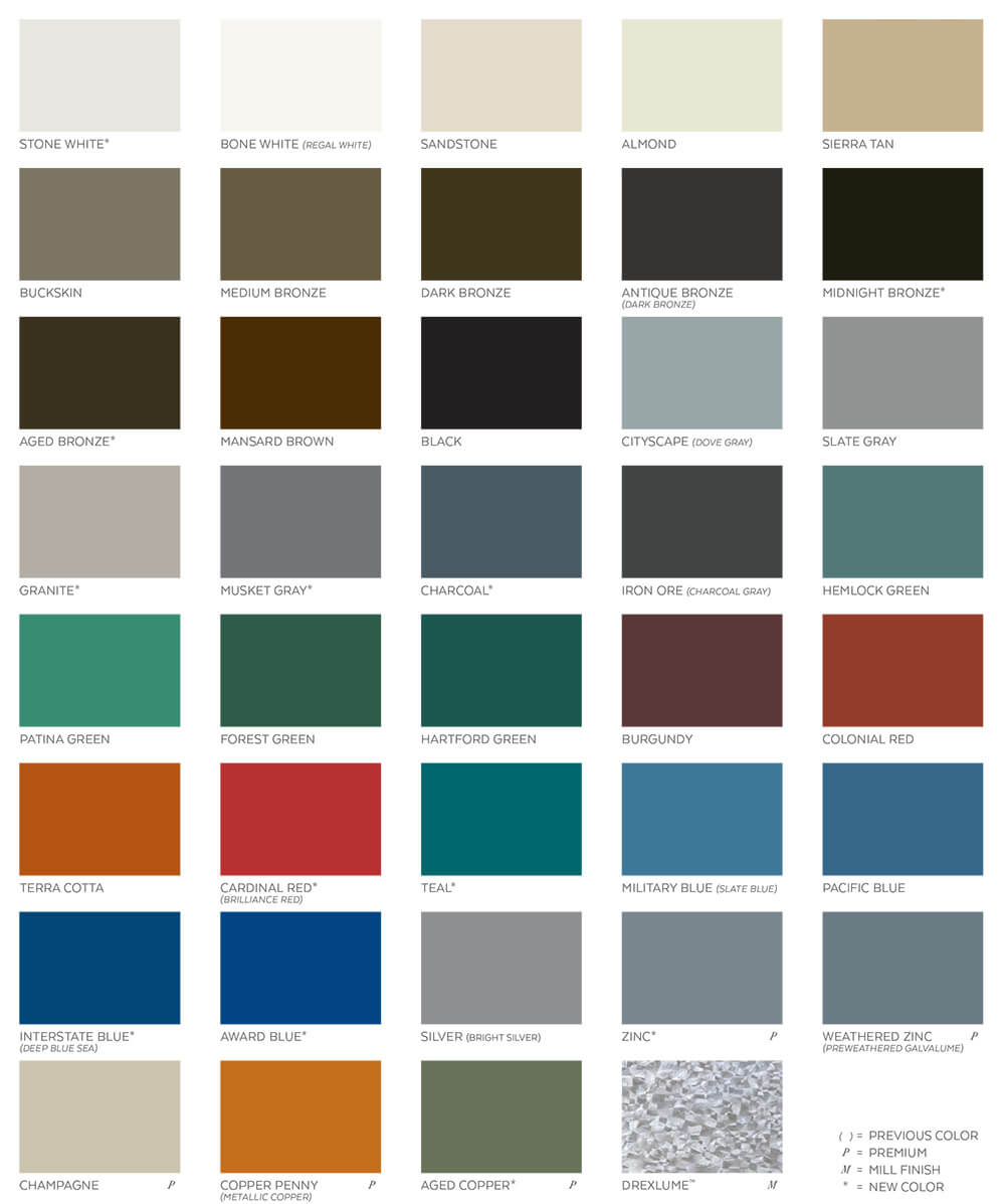 Metal colors for the standing seam roofing
