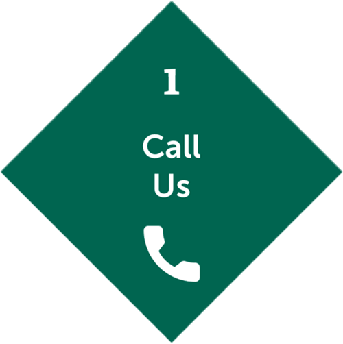 First step is Call us with phone icon